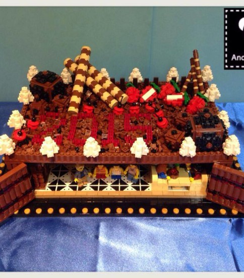 Cafe inside a Black Forest cake